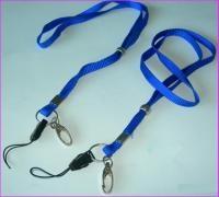Шнурки для беджей D004 (с карабином) син